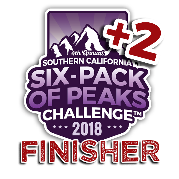 2018 SoCal Six-Pack of Peaks Finisher +2
