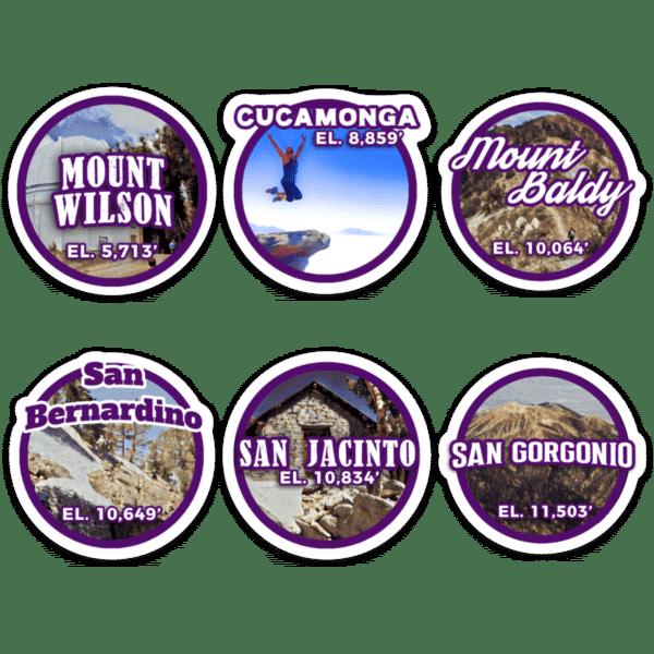 Six-Pack of Peaks Sticker Set
