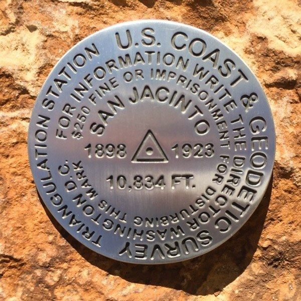 Mt San Jacinto Benchmark - rock back