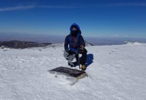 Mt. Baldy, bundled up because of the wind! OnBaldySummit_Prof