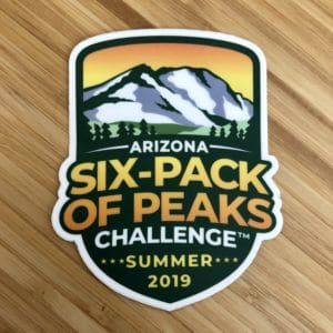 2019 Arizona Summer Six-Pack of Peaks Challenge Sticker