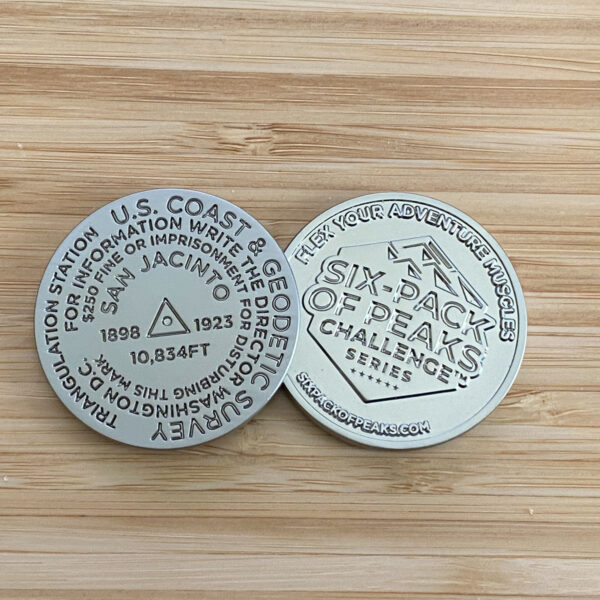 Mount San Jacinto Challenge Coin (front and back)
